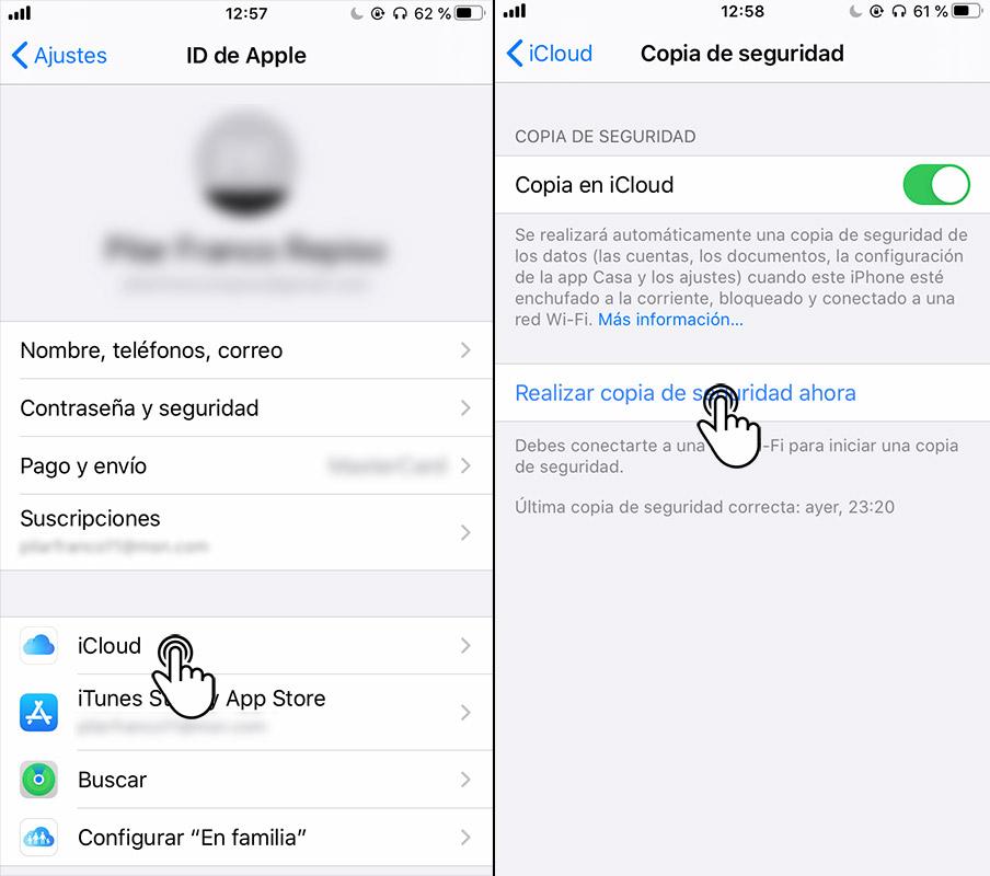 copia seguridad iphone con icloud